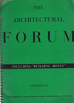 Architectural Forum, The: September 1937. Volume 67 No. 3. The Paris Exhibition Myers (Ed.), Howard - Product Image