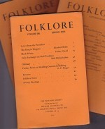 Folklore: Volume 86 1975 (3 issues)by: Folk-Lore Society - Product Image