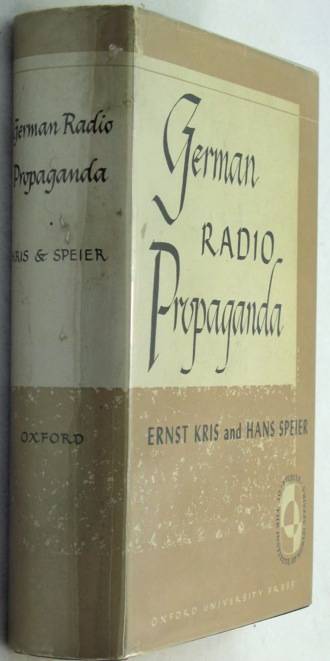 German Radio Propaganda - Report on Home Broadcasts during the WarKris, Ernst/Hans Speier - Product Image
