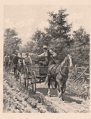 "ORIG B&W SPORTING PRINT/ ""RIGHT OF WAY""illustrator- A.B.  Frost - Product Image"