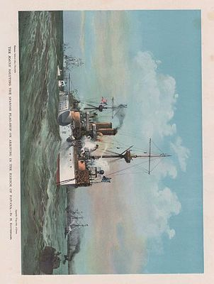 ORIG COLOR LITHO PRINT: THE MAINE SALUTING THE SPANISH FLAG-SHIP ON ARRIVING IN THE HARBOR OF HAVANAillustrator- Henry  Reuterdahl - Product Image