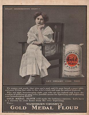ORIG VINTAGE 1909 GOLD METAL FLOUR ADillustrator- N/A - Product Image