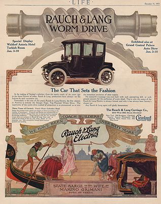 ORIG VINTAGE 1913 RAUCH & LANG ELECTRIC CAR ADillustrator- N/A - Product Image