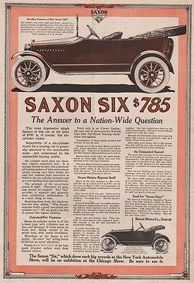 ORIG VINTAGE 1915 SAXON SIX CAR ADillustrator- N/A - Product Image