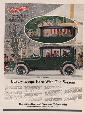 ORIG VINTAGE 1917 OVERLAND TOURING SEDAN ADillustrator- N/A - Product Image