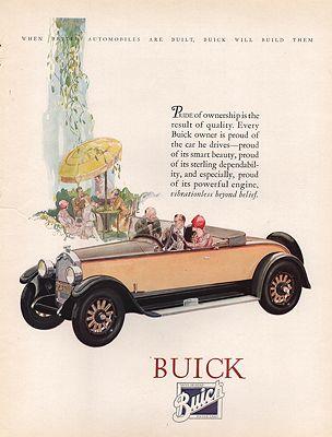 ORIG VINTAGE 1921 BUICK CAR ADillustrator- N/A - Product Image
