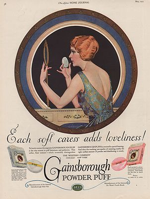 ORIG VINTAGE 1923 GAINSBOROUGH POWDER PUFF ADillustrator- Coles   Phillips - Product Image