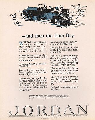ORIG VINTAGE 1923 JORDAN CAR ADillustrator- F.S.  Cole - Product Image