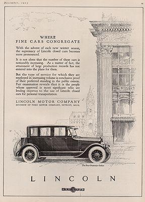ORIG VINTAGE 1923 LINCOLN MOTOR CAR ADillustrator- N/A - Product Image