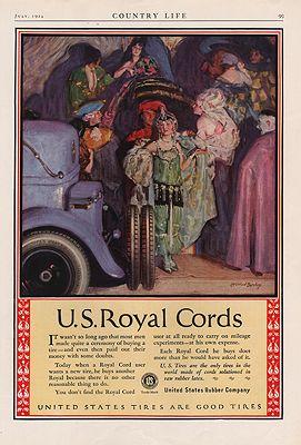 ORIG VINTAGE 1924 U.S. ROYAL CORDS ADillustrator- McClelland   Barclay - Product Image