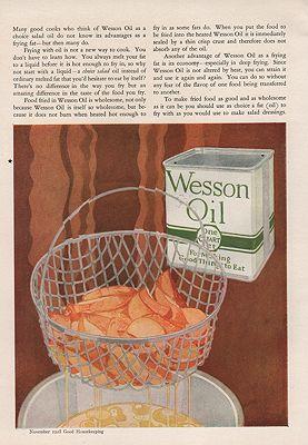 ORIG VINTAGE 1925 WESSON OIL ADillustrator- Rene  Clarke - Product Image