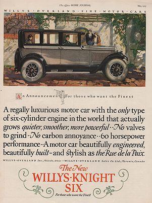 ORIG VINTAGE 1925 WILLYS-KNIGHT SIX CAR ADillustrator- Haddon  Sunblom - Product Image