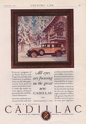ORIG VINTAGE 1927 CADILLAC CAR ADillustrator- N/A - Product Image