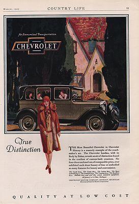 ORIG VINTAGE 1927 CHEVROLET CAR ADillustrator- N/A - Product Image