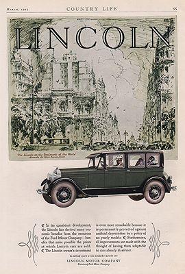 ORIG VINTAGE 1927 LINCOLN MOTOR CAR ADillustrator- N/A - Product Image