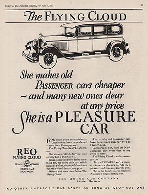 ORIG VINTAGE 1927 REO FLYING CLOUD CAR ADillustrator- N/A - Product Image