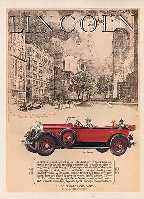 ORIG VINTAGE 1928 LINCOLN SPORT TOURING CAR ADillustrator- N/A - Product Image