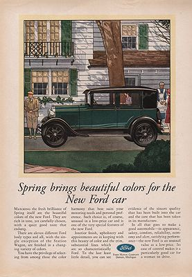 ORIG VINTAGE 1929 FORD CAR ADillustrator- James  Williamson - Product Image
