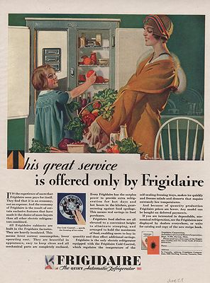 ORIG VINTAGE 1929 FRIGIDAIRE ADillustrator- E.M.  Jackson - Product Image