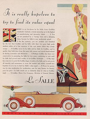 ORIG VINTAGE 1930 LA SALLE CAR ADillustrator- N/A - Product Image