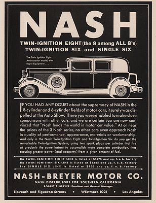 ORIG VINTAGE 1930 NASH CAR ADillustrator- N/A - Product Image