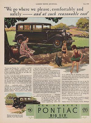 ORIG VINTAGE 1930 PONTIAC BIG SIX CAR ADillustrator- McClelland  Barclay - Product Image