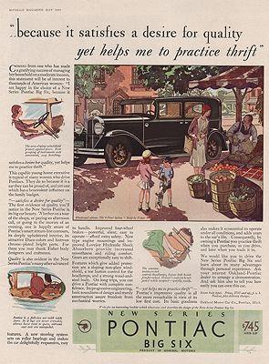 ORIG VINTAGE 1930 PONTIAC BIG SIX CAR ADillustrator- N/A - Product Image