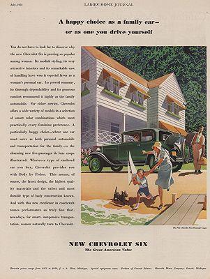 ORIG VINTAGE 1931 CHEVROLET SIX CAR ADillustrator- Ronald  McLeod - Product Image