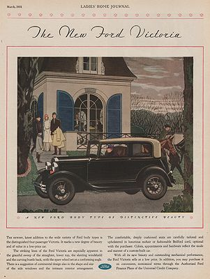 ORIG VINTAGE 1931 FORD VICTORIA CAR ADillustrator- N/A - Product Image