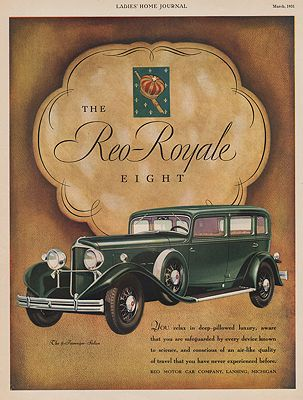 ORIG VINTAGE 1931 REO-ROYALE EIGHT CAR ADillustrator- N/A - Product Image