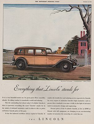 ORIG VINTAGE 1932 LINCOLN CAR ADillustrator- James  Williamson - Product Image