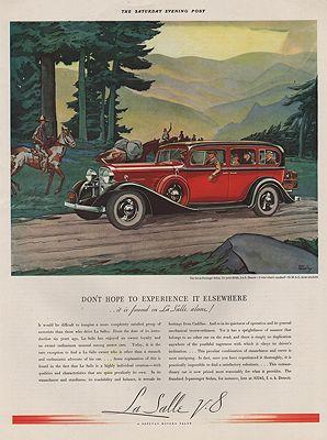 ORIG VINTAGE 1933 LA SALLE V-8 CAR ADillustrator- Edward A.  Wilson - Product Image