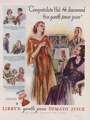 ORIG VINTAGE 1934 LIBBY'S JUICE ADillustrator- Henry  Raleigh - Product Image