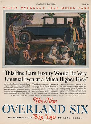 ORIG VINTAGE 1935 OVERLAND SIX CAR ADillustrator- N/A - Product Image