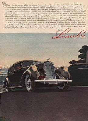 ORIG VINTAGE 1937 LINCOLN V-12 CAR ADillustrator- James  Williamson - Product Image