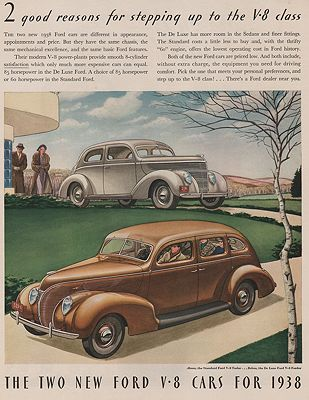 ORIG VINTAGE 1938 FORD V-8 CAR ADillustrator- James  Williamson - Product Image