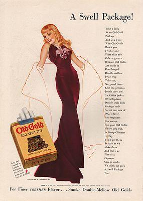 ORIG VINTAGE 1938 OLD GOLD CIGARETTE ADillustrator- George  Petty - Product Image