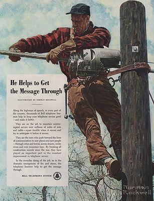 ORIG VINTAGE 1949 AT&T ADillustrator- Norman  Rockwell - Product Image