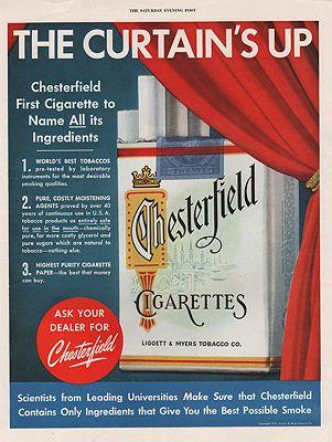 ORIG VINTAGE 1952 CHESTERFIELD CIGARETTES ADillustrator- N/A - Product Image