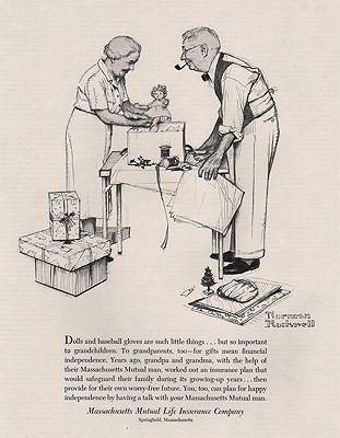 ORIG VINTAGE 1953 MASS MUTUAL LIFE INSURANCE ADillustrator- Norman  Rockwell - Product Image
