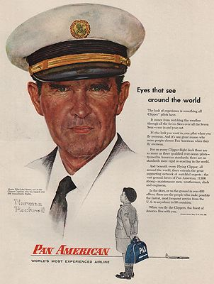 ORIG VINTAGE 1956 PAN AMERICAN AIRLINES ADillustrator- Norman  Rockwell - Product Image