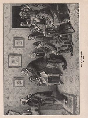 ORIG VINTAGE B&W PRINT/ HIS CONSTITUENTSillustrator- A.B.  Frost - Product Image