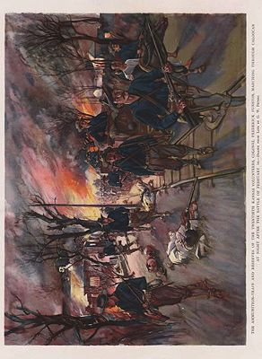 ORIG VINTAGE COLOR LITHO PRINT/ AMMUNITION TRAIN AND RESERVES OF 2OTH KANSAS VOLUNTEERS MARCHING THROUGH CALOOCANillustrator- G.W.  Peters - Product Image