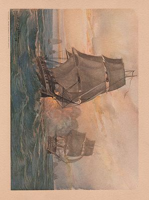 ORIG VINTAGE COLOR PRINT/ NAUTICAL BATTLE SCENE FROM THE SPANISH-AMERICAN WARillustrator- Rufus  Zogbaum - Product Image