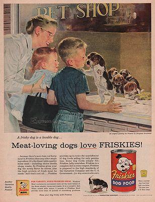 ORIG VINTAGE MAGAZINE AD - 1956 FRISKIES DOG FOOD ADillustrator- Douglas  Crockwell - Product Image