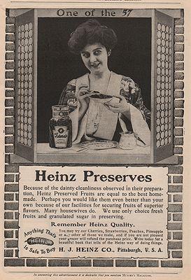 ORIG VINTAGE MAGAZINE AD = 1900s HEINZ PRESERVES ADillustrator- N/A - Product Image