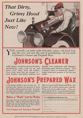 ORIG VINTAGE MAGAZINE AD = 1916 JOHNSON'S CAR WAX ADillustrator- N/A - Product Image
