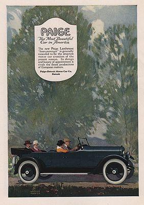 ORIG VINTAGE MAGAZINE AD / 1918 PAIGE MOTOR CAR ADillustrator- George   Harper - Product Image