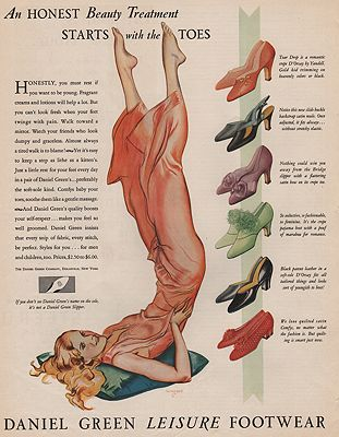 ORIG VINTAGE MAGAZINE AD / 1931 DANIEL GREEN FOOTWEAR ADillustrator- John  Holmgren - Product Image