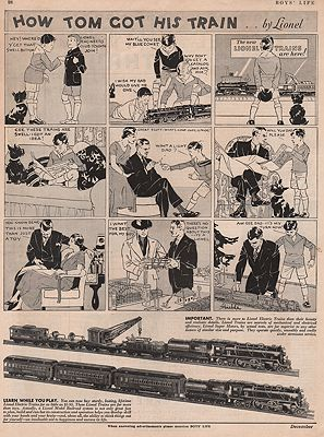 ORIG VINTAGE MAGAZINE AD / 1932 LIONEL TRAIN AD illustrator- N/A - Product Image
